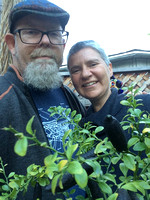 With Al, mom's garden T-giving, 2016